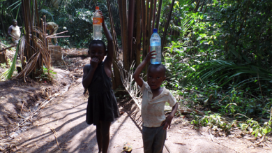 Mankon drinkwater-project (Truus Treep) in Bamenda, Kameroen. Foto gemaakt in maart 2014.